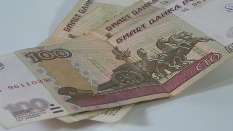 Russian money - 100 rubles of Russia in motion