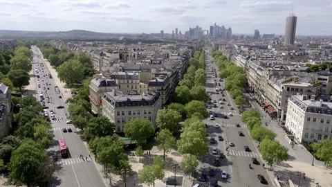 PARIS - MAY 3, 2018: high view of buildings in Champs-Elysees - tree-lined streets - Paris France Europe. The Champs-Élysées is part of the Axe historique.