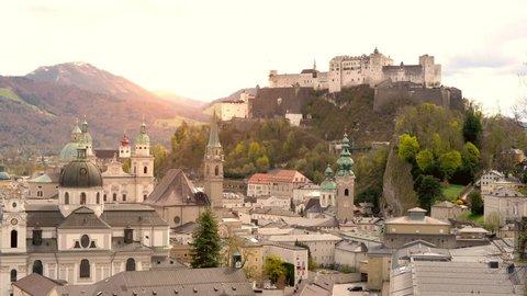 SALZBURG, AUSTRIA - CIRCA APRIL 2018: View of the medieval architecture of the Hohensalzburg Fortress circa April 2018 in Salzburg, Austria.