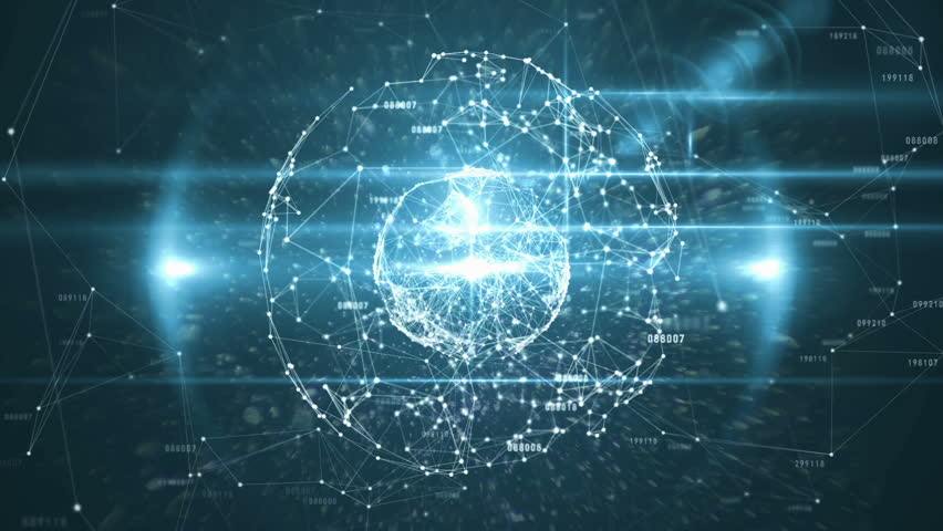 Digitally generated of binary code with polygonal circle connecting dots and lines | Shutterstock HD Video #1015296007