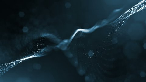 Dark magic looped background like microcosm, macro world or Christmas garland in air. 4k seamless 3d animation as sci-fi background with glow particles, depth of field, bokeh, light effects. Strings 3