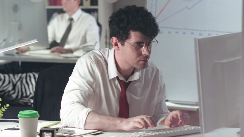 Portrait of accountant filling out financial report table. Bank employee calculating finance and taxes. Statistics and analytical research concept