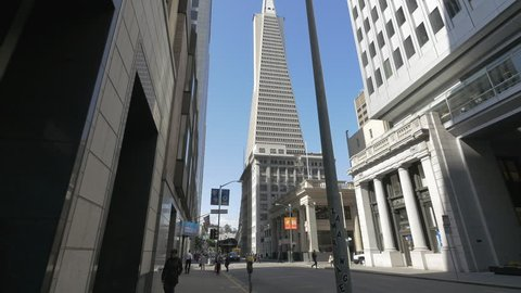 San Francisco, United States - October, 2017: The Transamerica Pyramid on Montgomery Street