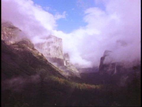 YOSEMITE NATIONAL PARK, CALIFORNIA, 1978, misty, El Capitan waterfall, Half Dome