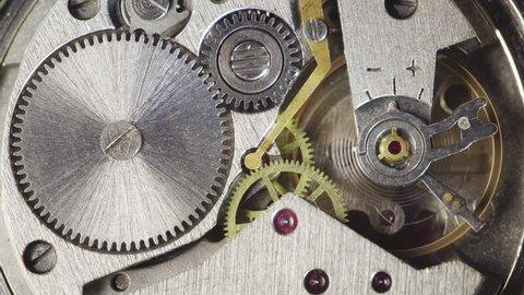 Mechanism of the old wristwatch. Movement of the clockwork pendulum. Macro shot.