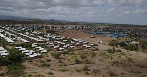 Areal drone Kakuma refugee camp is located in the North-western region of Kenya.