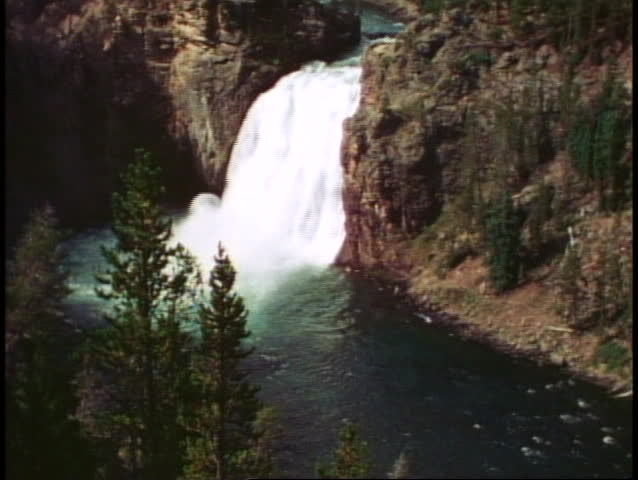 YELLOWSTONE NATIONAL PARK, WYOMING, 1978, Upper Falls, waterfall, wide shot