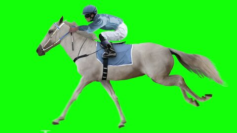 Jockey riding a white horse runs gallop. Isolated and cyclic. Can be used as a silhouette. Green Screen.