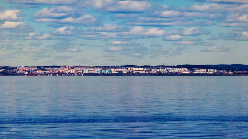 Dudinka seaport at Yenisey river estuary. Northern part of Krasnoyarsk region, Siberia, Russia.