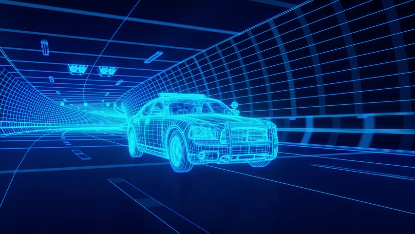 Blue wireframe Police car rides through Blue tunnel 3d rendering #1015464337