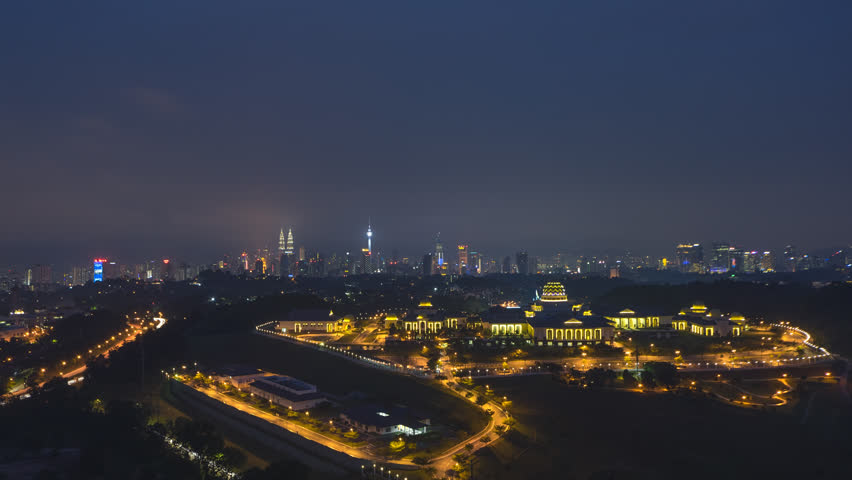 Time lapse: Dramatic night aerial view of the Kuala Lumpur skyline. Prores Full HD 1080p. 4K available. | Shutterstock HD Video #1015511557