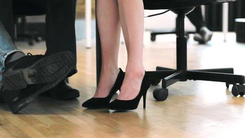 Close Up Of Woman S Feet Under Table Shaking Nervously Female Employee Having Bad Feeling