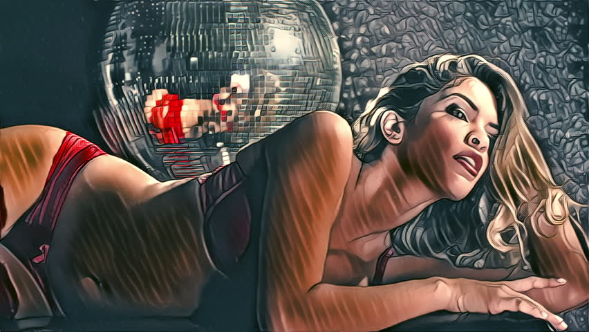 disco woman posing in red lingerie under a disco ball with impressionist abstract filter