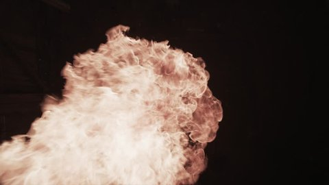 Slow motion fireball explosion at camera for use with visual effects and/or design.