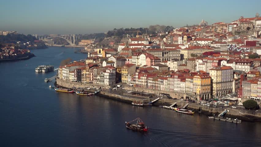 Old city of Porto view from the ponte Dom Luiz bridge, Portugal