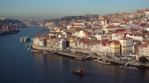 Old city of Porto view from the ponte Dom Luiz bridge, Portugal