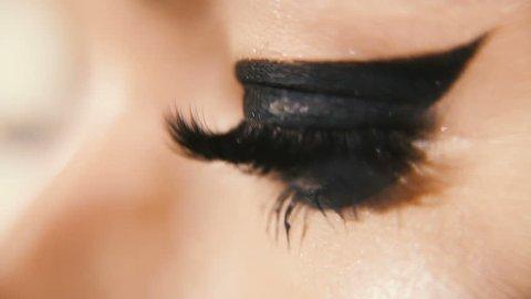 Female eyes. Female eyes with extended eyelashes