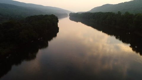 Aerial view of the upper Delaware River during sunset