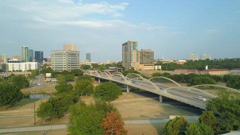 Aerial footage W 7th Street Bridge Fort Worth Texas