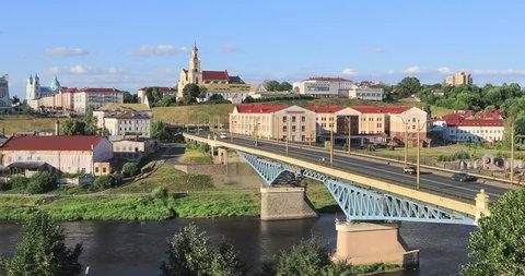 Cityscape of Grodno with bridge over Neman river, Belarus