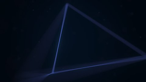 Blue geometric solid tetrahedron. 3D graphics related loopable animation