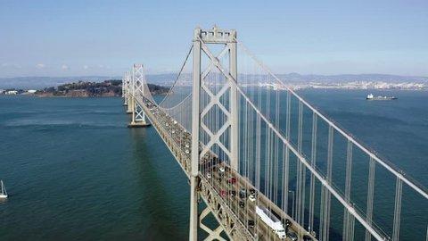 San Francisco Bay Bridge Aerial Circling View During Rush Hour