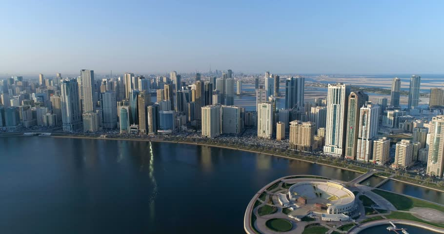 Panorama of the city from a bird's-eye view. Sharjah. #1015680697