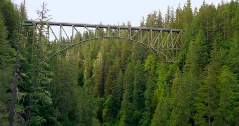 4K aerial shot flying under an old steel bridge in the deep forest of Washington state. The trees are tall and thick giving the bridge the appearance that its floating in the middle of nowhere.