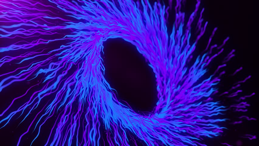 Blue and purple motion graphics with colored spiral and spheres, abstract color wormhole tunnel, background with rotation of lines and particles. 2d/3d animation. Growing bunch of optical fibers