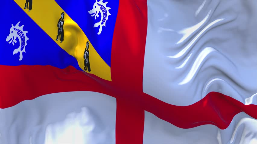 21. Herm Flag Waving in Wind Slow Motion Animation . 4K Realistic Fabric Texture Flag Smooth Blowing on a windy day Continuous Seamless Loop Background.