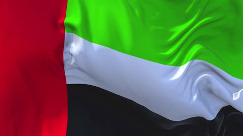 140. United Arab Emirates Flag Waving in Wind Slow Motion Animation . 4K Realistic Fabric Texture Flag Smooth Blowing on a windy day Continuous Seamless Loop Background.