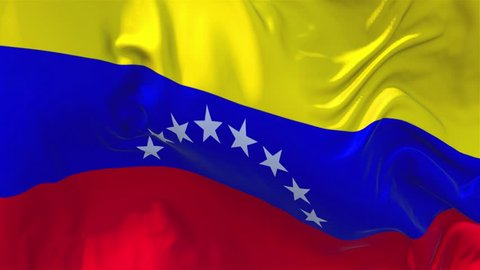 160. Venezuela Flag Waving in Wind Slow Motion Animation . 4K Realistic Fabric Texture Flag Smooth Blowing on a windy day Continuous Seamless Loop Background.