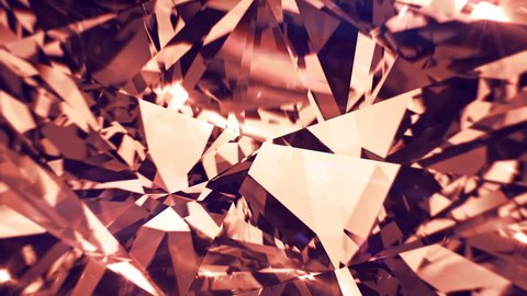Pink diamond or quartz dispersion footage. Fancy color crystal gem. Round diamond cut animation with light rainbow on surface. Bright background video. 3D animation of shiny gem stone