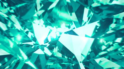 Green mint diamond dispersion footage. Fancy color ?hrysoberyl gem. Round diamond cut animation with light rainbow on surface. Sapphire bright background video. 3D animation of shiny gem stone
