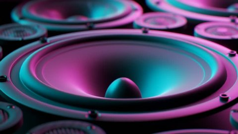 Playing speaker membranes stacked in an endless loop. Lit by colourful and moody retro disco lights. Powerful, modern kind of midrange, subwoofer and twitter loudspeakers vibrate in even, frequencies.