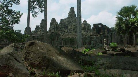 Timelapse of Bayon Temple entrance Angkor Wat Cambodia Siem Reap