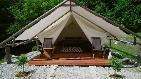 Tracking shot of a glamping tent in an eco camping in Slovenia.