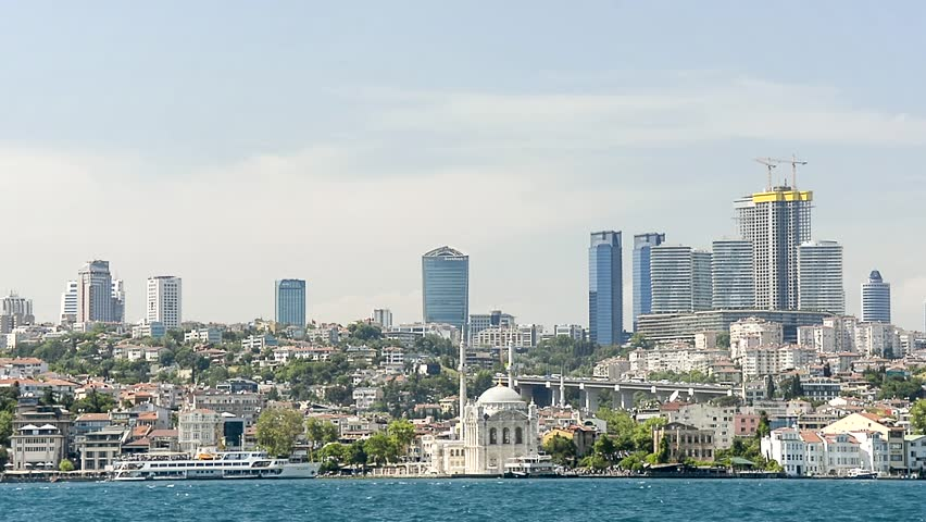 ISTANBUL, TURKEY, MAY 26,2015: Ortakoy coastline with Ortakoy Mosque and skyscrapers at the background, shot from Beylerbeyi, Asian side of Istanbul, Turkey.