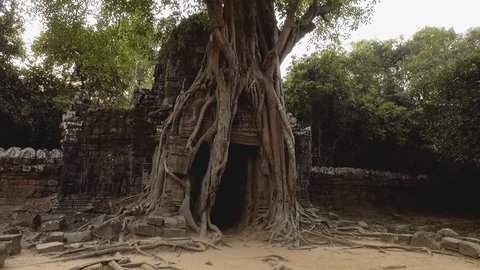 Hand held shot going through temple's gate with roots and ruins at Ta Som Temple Angkor Wat, Siem Reap Province, Cambodia