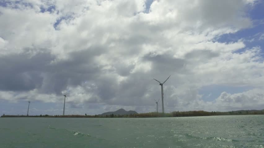 View Of Windmills in Indian Ocean from the Boat, Mahe Island, Seychelles 3