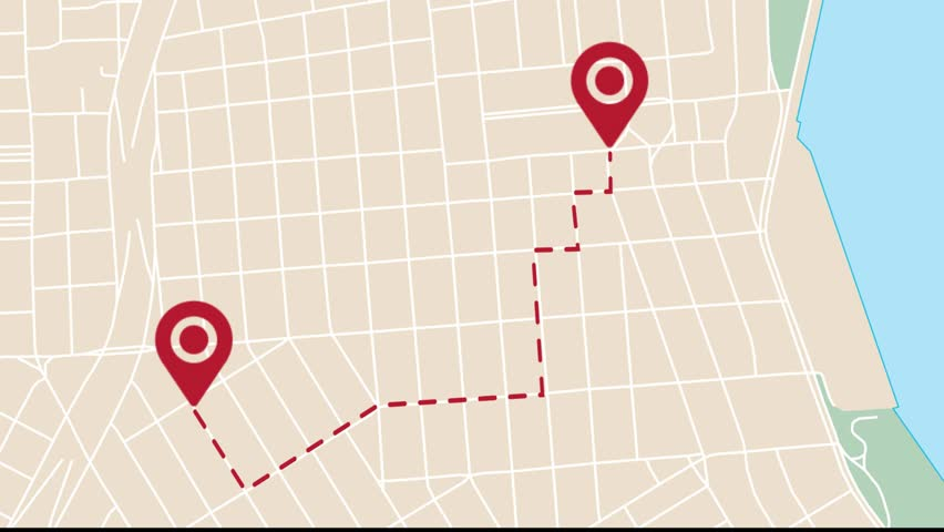 Animation of city map with pin pointers, GPS travel and navigation concept. #1015991197
