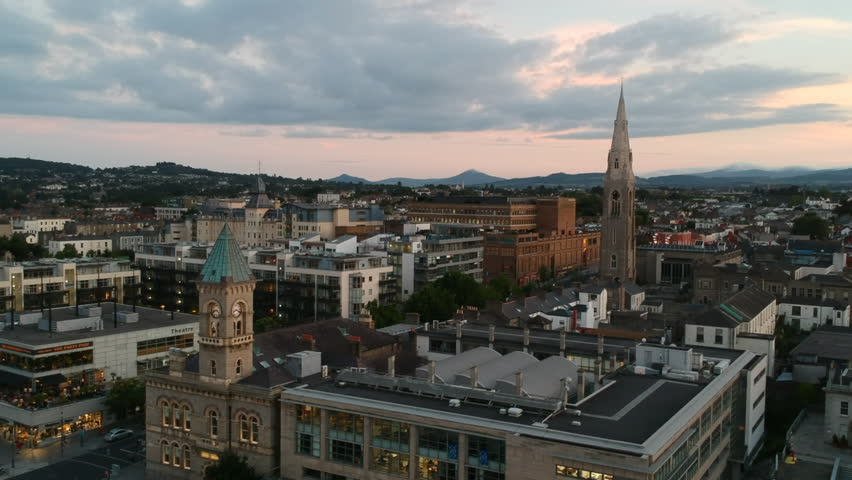 Dun Laoghaire at Sunset, Dublin, Ireland Drone Video | Shutterstock HD Video #1016004547