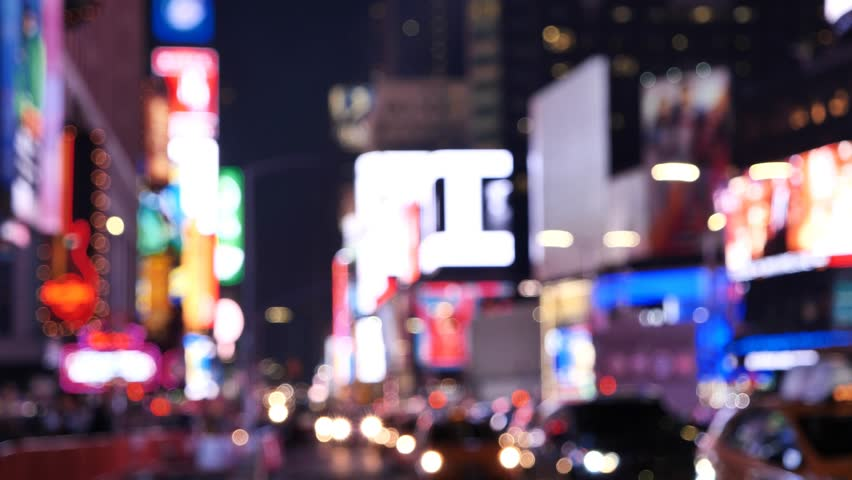 Times Square At Night out of focus traffic, billboard and lights, New York City | Shutterstock HD Video #1016008417