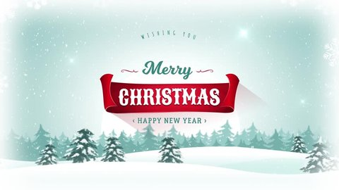 Merry Christmas & Happy New Year Background/ Animation of a beautiful merry christmas postcard with landscape background, firs, snow and elegant banners