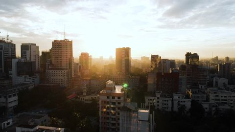 Beautiful aerial drone shot of Dhaka, Bangladesh during a beautiful sunrise as the city is waking up.