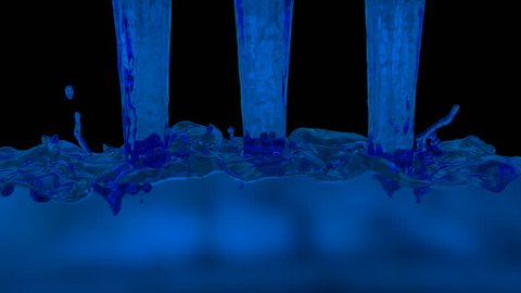 Animated realistic blue kerosene or paraffin pouring from three inflows and splashing quickly filling up whole container against transparent background. Alpha channel embedded with PNG file.