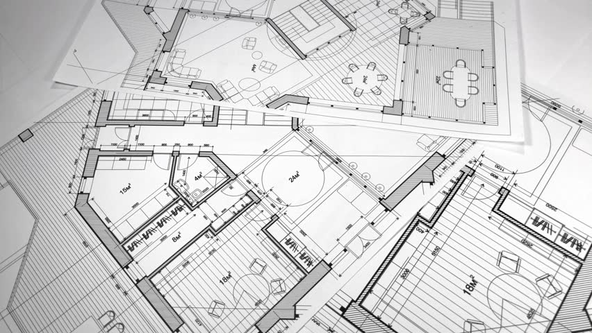Architectural Blueprints - architectural plan of a modern house / smoothly rotate / seamless looping | Shutterstock HD Video #1016104957
