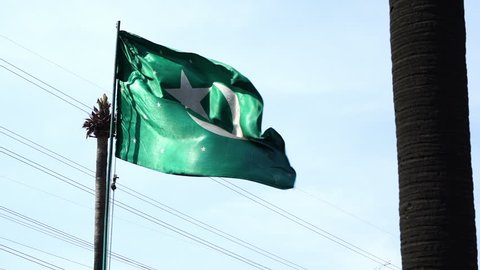 A high angle shot of the Pakistan flag waving through the air. A static shot with trees and powerlines seen around the flag