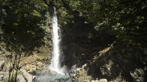 White large waterfall exposed to sunlight in Kagoshima