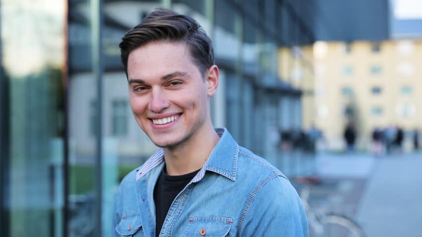 Happy Man Near Modern Office Building Outdoors | Shutterstock HD Video #1016148427